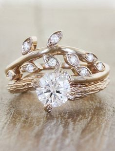 """Sasha"" wedding ring paired with ""Laurel"" engagement ring ~ we ❤ this! moncheribridals.com"