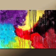 Abstract Modern Art Painting - 36x24 Original Contemporary Art on Stretched Canvas by Destiny Womack -  dWo - Corners of the Mind. $129.00, via Etsy.