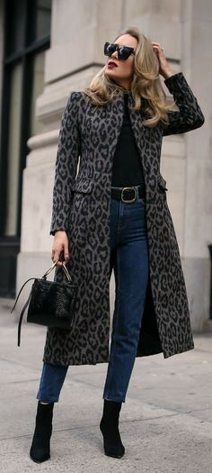 Long, black and grey leopard coat. Class that never fades..