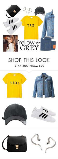 """""""yellow and grey"""" by rachelcakridge on Polyvore featuring Compañia Fantastica, LE3NO, adidas, MANGO, Roberto Cavalli and PS Paul Smith"""