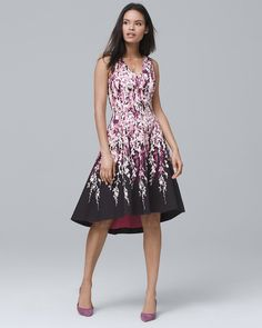 5a6f860df9703 White House Black Market Floral-Print High-Low Fit-and-Flare Dress