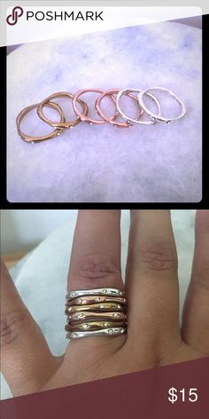 Chloe and Isabel stacking rings Sz 6 Chloe and Isabel classic stacking rings. Great condition. Slight discoloration on the 2 yellow gold rings. Bought years ago but never worn. Chloe + Isabel Jewelry Rings