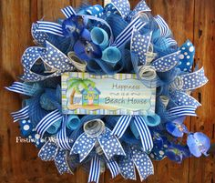 Summer Wreath  Beach Wreath  Front Door by FestivalofWreaths