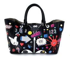 Anya Hindmarch Black Leather Allover Sticker Tote- Ebury Circus