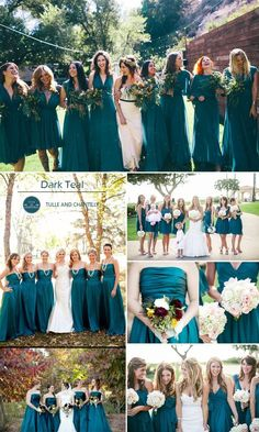 dark teal fall wedding color ideas and bridesmaid dresses trends                                                                                                                                                                                 More