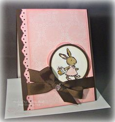 Simple Easter Bunny card,,,,LOVE the brown and pink