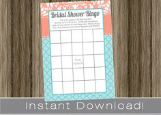 Turquoise and Coral  BRIDAL Shower Game / Bingo by PrimoPrintables