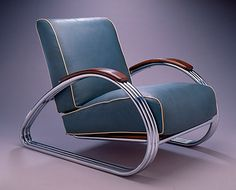 Artist Name: Kem Weber  Nationality & Life Dates: American (born Germany), 1889–1963  Title: Armchair  Date: 1934  Medium: Chrome-plated steel and naugahyde upholstery  Dimensions: 30 1/2 x 28 1/4 x 39 1/4 inches  Credit Line: Purchase with funds from the Decorative Arts Acquisition Trust  Accession Number: 1988.224 A-C