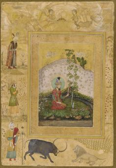 Humayun Seated in a Landscape, from the Late Shah Jahan Album ca. 1650  Payag , (Indian, active ca.1591-ca.1658)  Mughal dynasty  Reign of Shah Jahan  Opaque watercolor, ink and gold on paper mounted on paperboard H: 18.8 W: 12.3 cm  India