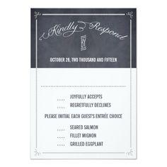 "Stylishly Chalked Wedding Response / RSVP Cards 3.5"" X 5"" Invitation Card"