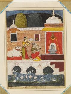 Bhairavi Ragini. Ragamala, Opaque watercolour on paper, India, Marwar, early 17th century, a lady worshipping at a lingam shrine; a cow sits behind, and water birds are in the water beside the shrine