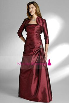Burgundy/Maroon Strapless Floor Length A Line Taffeta Mother Of The Bride Dresses Under 200 US$ 159.99 MDP25QLJ3M - mordendress.com