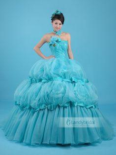 カラードレス ブルー プリンセスライン オーガンジー お色直し 花嫁ドレス 軽やか  vj0160  ¥72,100