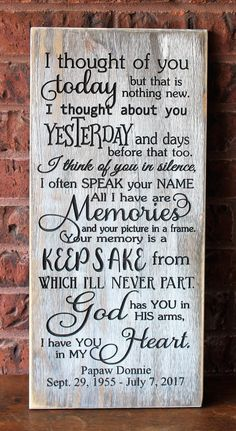 weddings - I thought of you today Sympathy gifts for loss of loved one In loving memory sign Wood sign Grief Signs Memorial wooden signs I Thought Of You Today, I Think Of You, Loss Of Loved One, Losing A Loved One, Memorial Gifts, Memorial Ideas, Memorial Ornaments, Thoughts Of You, Sympathy Gifts
