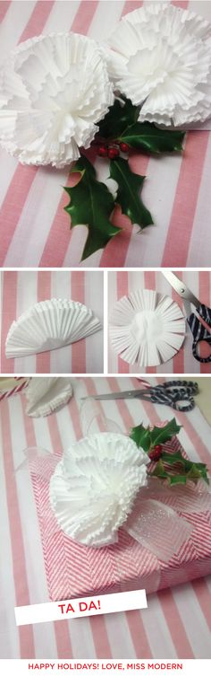 Best Diy Crafts Ideas Wanna make a quick + crafty cupcake liner paper gift topper, because they're so stinkin adorbz and EASY? I wonder if this would work with those small coffee filters… Tutorial via deluxemodern design -Read More – Cupcake Liner Crafts, Cupcake Liner Flowers, Cupcake Liners, Cupcake Wrappers, Flower Crafts, Diy Flowers, Paper Flowers, Diy Fest, Easy Handmade Gifts