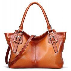 BIG SALE-AINIMOER Women Vintage Soft Genuine Leather Tote Shoulder Bag Top-handle Cross body Handbags Ladys Purse(Sorrel)
