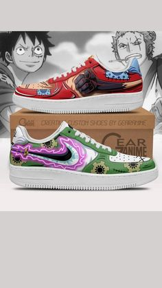 Sonic Shoes, Air Force Shoes, Custom Air Force 1, One Piece Anime, Painted Shoes, Cartoon Characters, Sneakers, Sick, Art Ideas