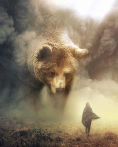 "Australian digital artist Eben (a. ""ebenism"") used his digital manipulation skills to create a wonderful collection of photos that imagine a beautiful world where giant animals coexist with tiny humans. Bear Spirit Animal, Spirit Bear, Giant Animals, Cute Animals, Art D'ours, Bear Art, Brown Bear, Black Bear, Photo Manipulation"