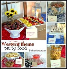 Western Party Food Names Western Party Foods, Western Parties, Western Theme, Cowboy Theme, Cowgirl Birthday, Cowgirl Party, 30th Birthday, Birthday Ideas, Birthday Parties