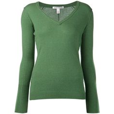 AUTUMN CASHMERE raw v-neck sweater ($385) ❤ liked on Polyvore featuring tops, sweaters, shirts, 10. tops., green, autumn cashmere sweaters, v neck sweater, vneck shirts, green sweater and longsleeve shirt