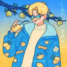 Lem's lemonade 🥺🍋🥤 I wanted to explore with more saturated colors here! I hope you like lem and his new lemon jacket💜 also my dad got me sunglasses today that look almost the same as lem's😁 Arte Do Kawaii, Kawaii Art, Aesthetic Art, Aesthetic Anime, Aesthetic Drawings, Arte Copic, Cute Kawaii Drawings, Cute Art Styles, Art Anime