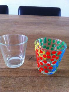 Theelichtje met glasverf bewerkt!