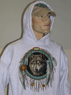 """Wolf Medicine Shield"" Hoodie ~ Wolf is power~Wolf is honor~Wolf is integrity~Wolf is the pathfinder, the forerunner of new ideas who returns to the clan to teach and share medicine. Wolf takes one mate for life.  If you were to keep company with Wolves, you would find an enormous sense of family within the pack, as well individualistic urge. Visit: www.cosmoscrystal.com"