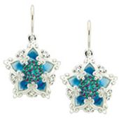 Snowflake-style! Galatea DavinChi Cut Collection blue topaz earrings in 14k white gold with diamonds. Style 4573.