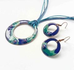 Turquoise blue vitreous enamel earrings and by NiadaJewellery