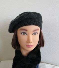 Hand knit beret hat ready to ship in lightweight highland pure wool yarn  knit in charcoal heather yarn in pattern by Rowan, with star crown design  the ribbed headband measures 22  and will extend to about 24  to fit average womens head size  hand wash as for wool and dry over dinner plate to retain beret shape