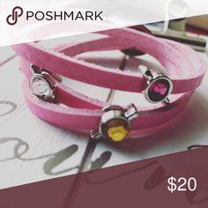Pink charm wrap bracelet Removable charms. New Jewelry Bracelets