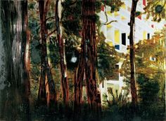 Peter Doig, 'Concrete Cabin'. Le corbusier's modernist apartment block glimpsed through the trees.