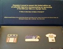 Champion Limited Ed. Set of Collectible Lapel Pins Set  From the 1994-1996 U.S. Olympic Teams  Still in the original factory case  Pin have never been used or removed from the case!  $21.00 Or Best Offer!  Seller: Depe56  Published Date: 2017-10-14 16:49:41