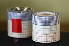 Cute Japanese Washi Masking Tape. One flat blue with some vertical red lines, Green square grid, Brown square Grid. Great for scrapbooking, collage, art journal, gift wrapping / packaging, and any other creative projects you may have! Available in set of 3 or singles18mmx15m per rollMade in Japan $4.25