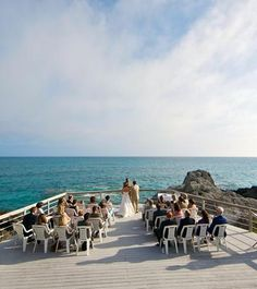 Seaside destination wedding in Bermuda.Pin provided by Elbow Beach Cycles http://www.elbowbeachcycles.com