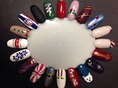 Xmas nail art palette! #nailartbykrystle #imagineesthetique #pointeclaire #montreal #pedicure #manicure #nailart #prettytoes #opi #christmas