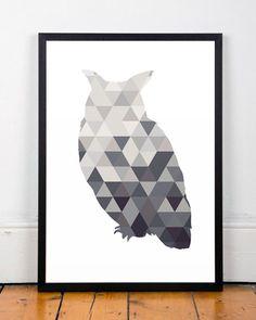 Chouette affiche moderne affiche triangles par ShopTempsModernes
