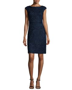 Cap-Sleeve+Embroidered+Sheath+Dress,+Navy+by+Sue+Wong+at+Neiman+Marcus.