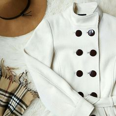 {Express} White Collar Up Long Pea Coat -Outer: 70% wool, 20% polyester, 10% rayon -Lining: 100% polyester  -Lightly worn (some fuzzing throughout) -Off-white, cream color -Buttons are dark brown  -Side pockets ⭐HP 3-26-16 Fashion Faves ⭐HP 4-11-16 Wardrobe Refresh ⭐HP 4-28-16 Total Trendsetter ⭐HP 8-24-16 Girly Girl ⭐HP 9-1-16 Fall Preview  📷 by @alinasher Express Jackets & Coats Pea Coats