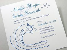 Custom Beach Wedding Invitation Bubbling Blue by essentialimages, $2.85