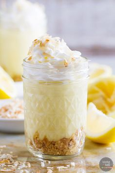 Sweet and creamy, these Coconut Lemon Pudding Parfaits are perfect for sharing with friends and family. And the pudding is super easy and made from scratch!: