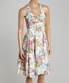 Loving this Off-White & Pink Garden Belted Halter Dress on #zulily! #zulilyfinds