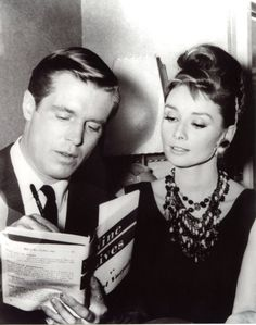 Audrey Hepburn and George Peppard on the set of Breakfast at Tiffany's, 1961