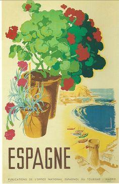 Spanish pre-civil war tourism poster by Joseph Morell Macías Vintage Images, Vintage Art, Spanish Posters, Tourism Poster, Christmas In Europe, New Poster, Arte Pop, Cool Posters, Art Posters