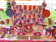 Willy Wonka dessert table with a girly twist