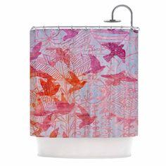 """Marianna Tankelevich """"Bird's Dream"""" Lavendar Pink Shower Curtain"""