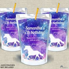 """Magical Unicorn Watercolor Printable Capri Sun Juice Pouch Labels - Birthday Party, 3.5"""" x 5.25"""" Labels - Editable PDF, Instant Download Unicorn Birthday, 7th Birthday, Birthday Parties, Capri Sun Juice, Mini Wine Bottles, Magical Unicorn, Printing Labels, Sticker Paper, As You Like"""