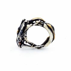 """Sterling silver and brass """"Twisted"""" ring"""
