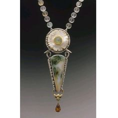 Caryn Hetherson necklace; sterling silver, 22K & 14 K gold, carved mother of pearl, green moonstone, ocean jasper, citrine briolette and flourite beads.