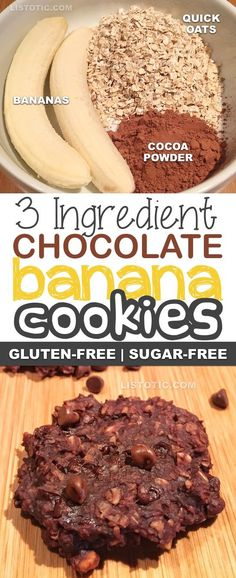 3 Ingredient Healthy Chocolate Banana Cookies & Sugar free, gluten free, vegan, healthy dessert and snack recipe. The post 3 Ingredient Healthy Chocolate Cookie Recipe (the perfect guilt-free snack!) appeared first on Food Monster. Good Healthy Recipes, Healthy Sweets, Healthy Baking, Healthy Drinks, Healthy Meals, Vegetarian Recipes, Healthy Gluten Free Snacks, Eat Healthy, Healthy Sweet Snacks